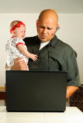 stressed working dad w/baby