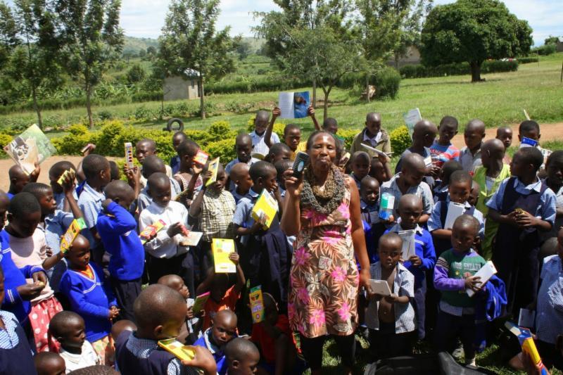 head teacher Beth with primary children
