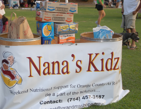 The Nana's Kidz food bins filled with donated food.