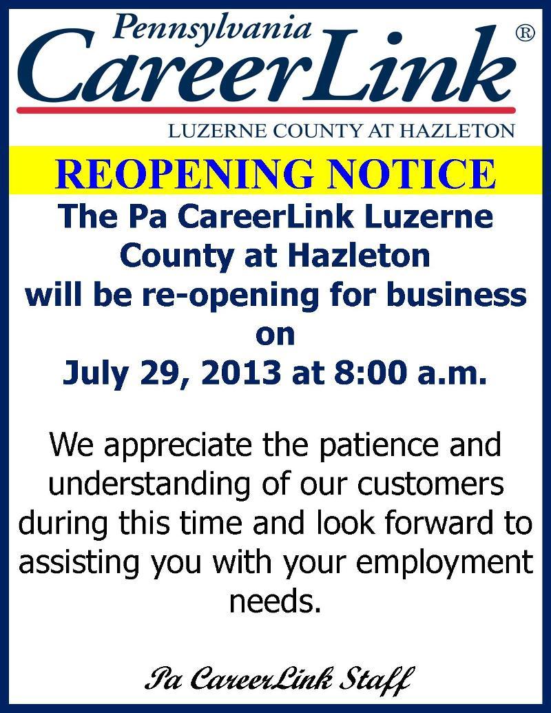 Hazleton CL Reopening