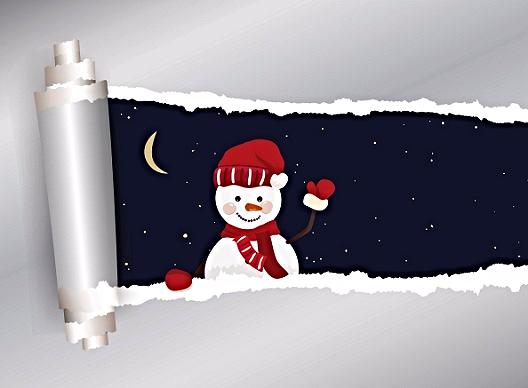 snowman in torn paper window