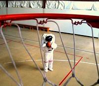 basketball NASA astronaut shooting hoops
