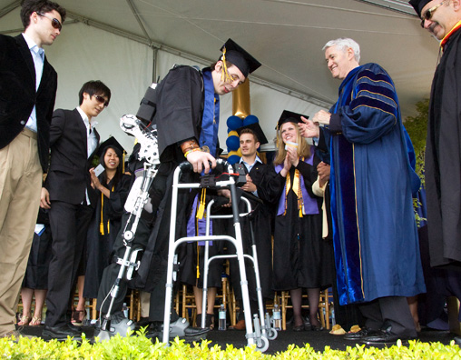 Austin Whitney Walks at Graduation with Help of Exoskeleton