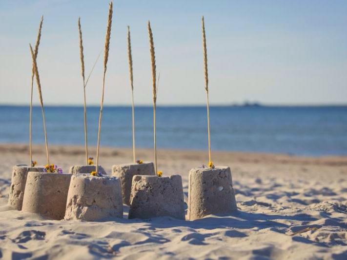 sand castles on beach