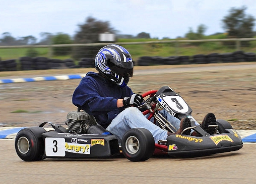 Go-Kart and Rider on Track