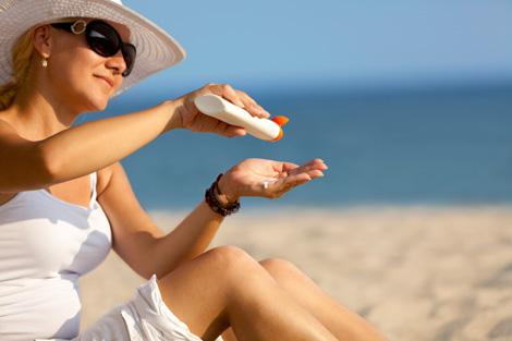 sunscreen at beach