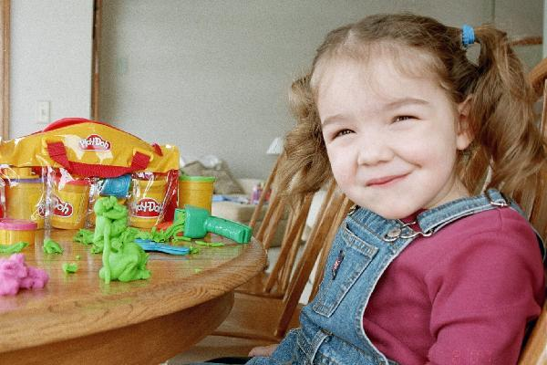 rachel at table with playdough