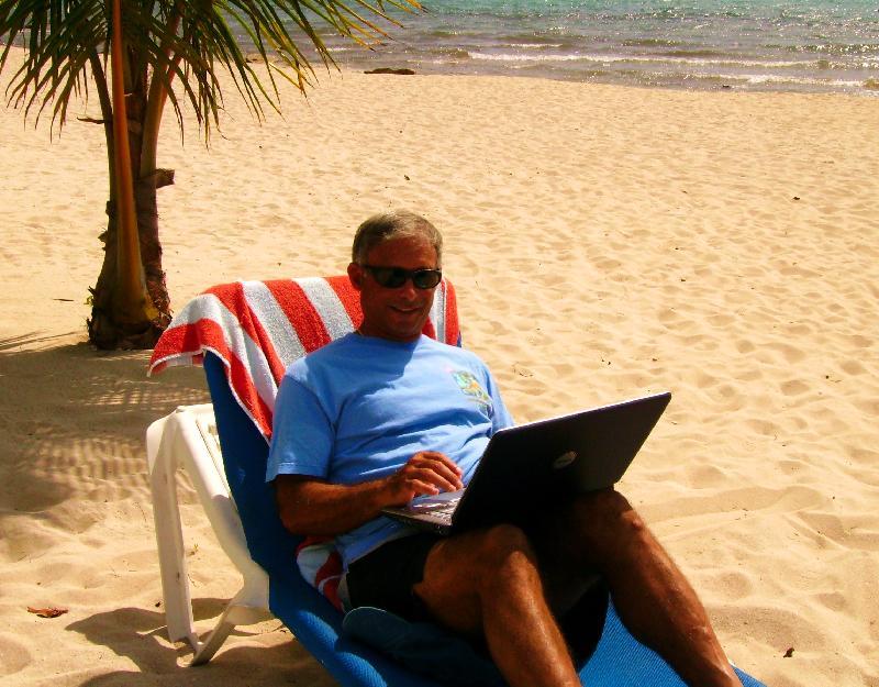 Paul working on the beach