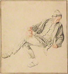 Seated Peasant Holding a Pitcher, 1680s, Cornelis Dusart
