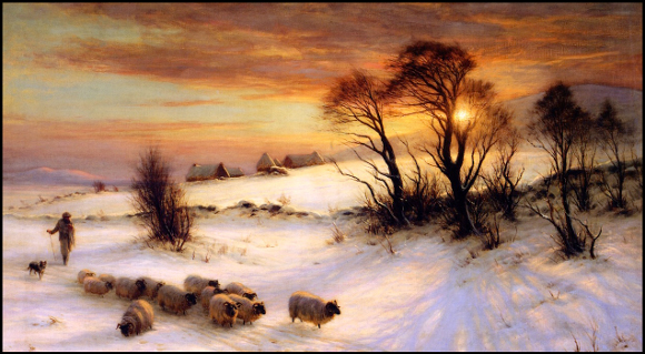 Herding Sheep in a Winter Landscape at Sunset