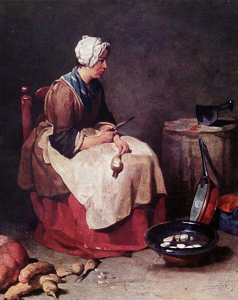 Woman Cleaning Turnips by Jean-Baptiste Siméon Chardin c1738