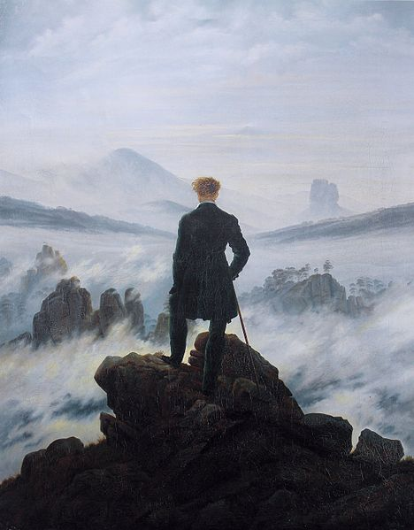 the wanderer above the sea of fog by Caspar David Friedrich  c1818