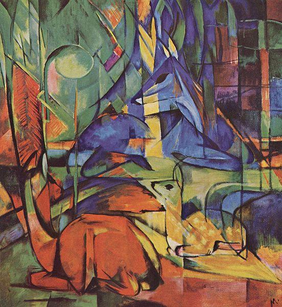 Deer in Woods by Franz Marc c1914