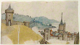 View of a Walled City in a River Landscape, about 1485, attributed to the workshop of Master LCz