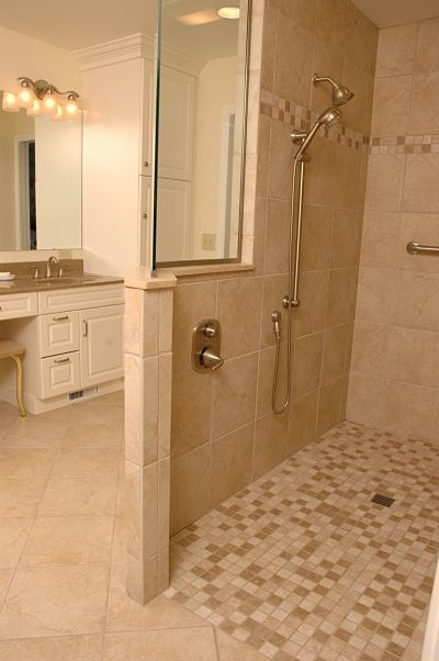 A Doorless Walk In Shower With A Level Entry Threshold Grab Bars Lowered Sh