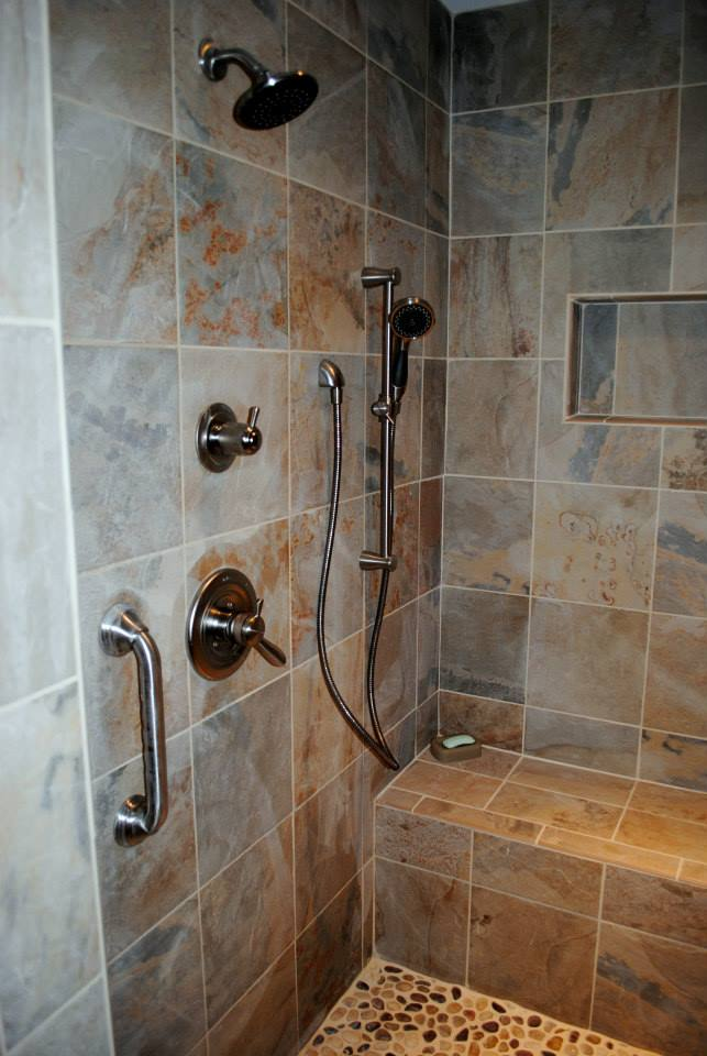 Easy Care 12 Inch Tiles Were Used For The Walls And Shower