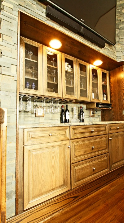 Cabinetry Was Recessed Into A Wall To Create Storage For Beverages And  Glassware. There Is A Built In Glass Rack And A Built In Shelf For The  Cable Box That ...
