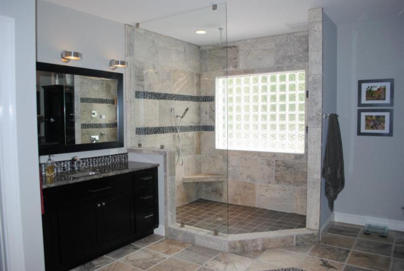 A Doorless Walkin Shower With A Level Entry Threshold - Hatchett bathroom remodel