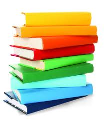 stack of rainbow colored books