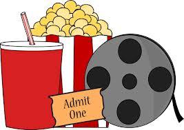 popcorn, soda, movie reel, and admit one ticket