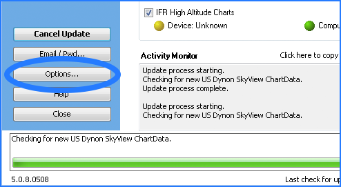 Data Manager Options Buytton