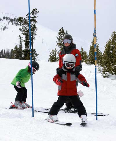 Kids ski race at Big Sky