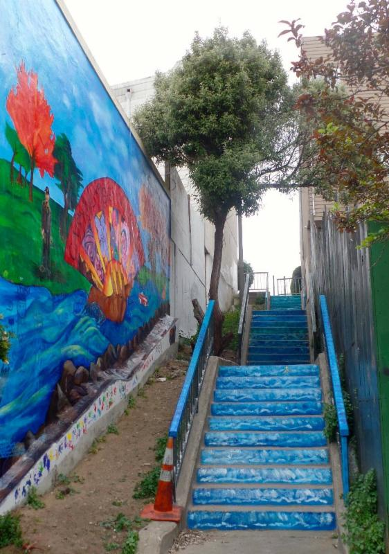 new mural and staircase