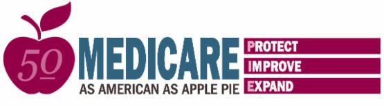 banner saying Medicare as American as Apple Pie