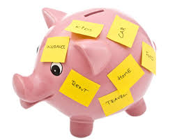 piggy bank with stickers on money issues
