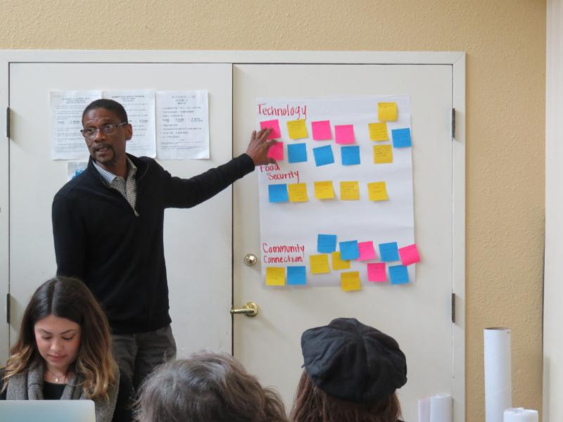 man facilitating group with posits for topics on the wall