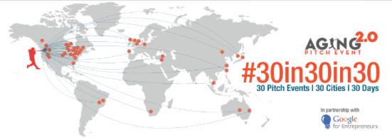 Aging 2.0 logo with all the event sites around the world