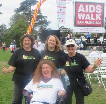4 walkers at AIDS Walk