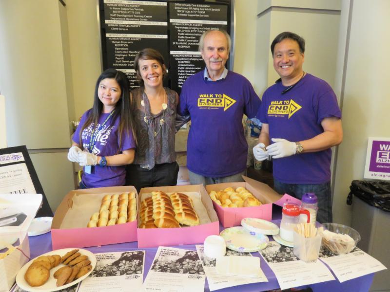 4 people at bake sale