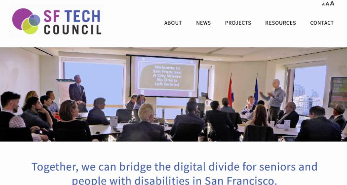 screen shot of new website