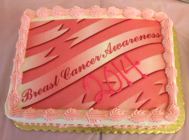 picture of cake with Breast Cancer Awareness written on it