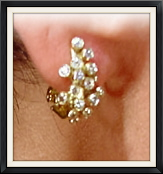 Grapes on ear- 18k and diamonds