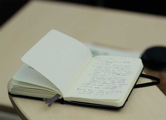 Notebook with writings