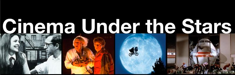 Cinema Under the Stars with images from each film being shown