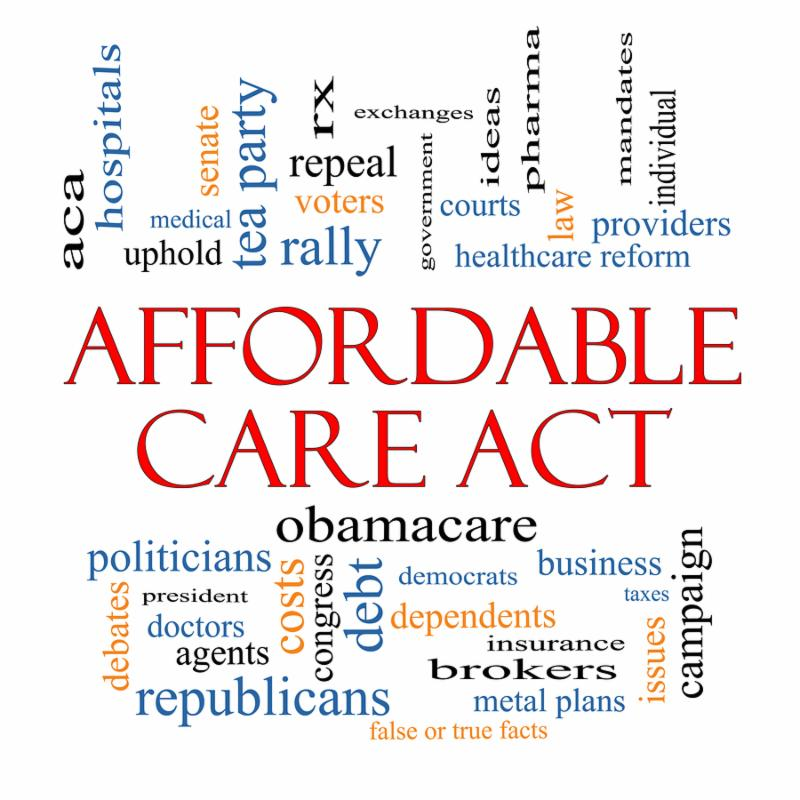 Affordable Care Act Word Cloud Concept with great terms such as healthcare reform exchanges insurance law and more.