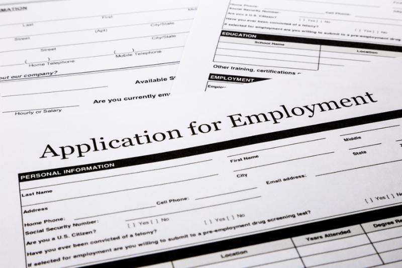 employment application form human resources and business concepts