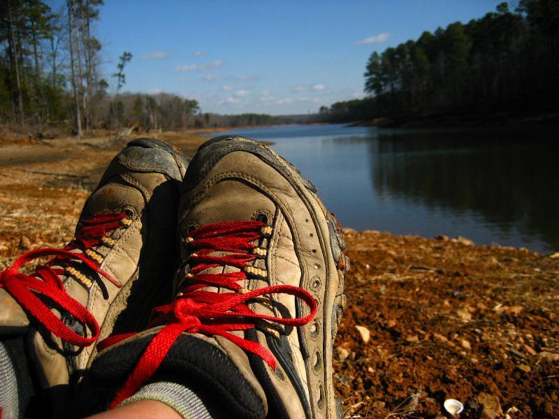 Hiking boots at Falls Lake