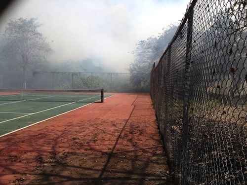 Tennis Court Fire