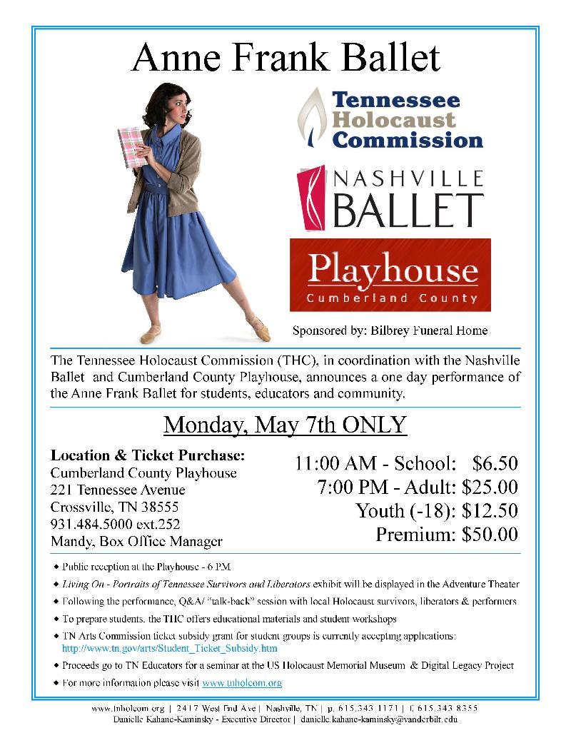 Anne Frank Ballet - May 7, 2012 Flyer