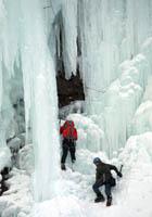 Erik Weihenmayer and Chad Jukes climing Bridal Veil Falls