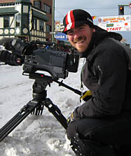 Dave Dangelo filming the Iditorod