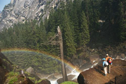 Rainbow in Yosemite National Park, Kelly Perkins approach to Halfdome
