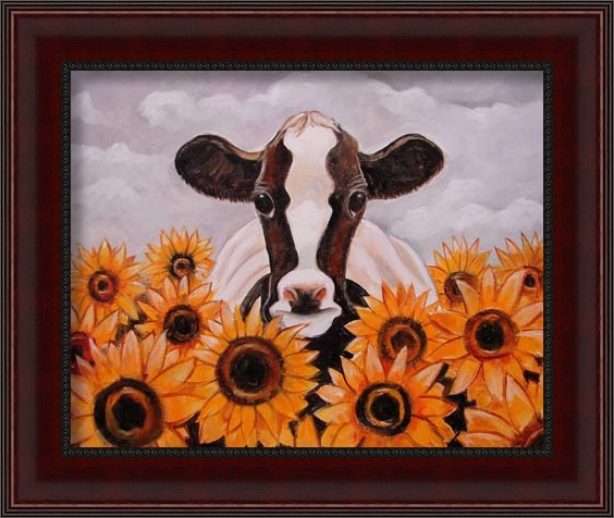 cow and sunflower jan 2013