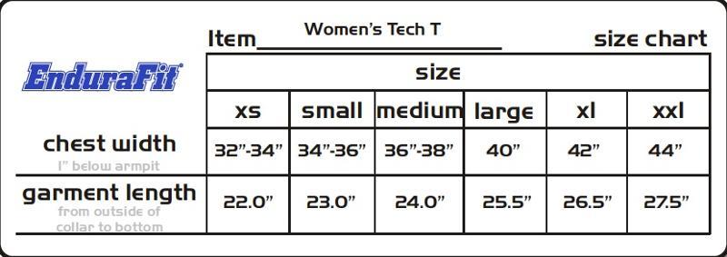 Womens Tech T Shirt Size Chart