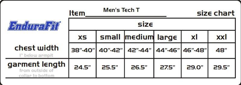 Mens Tech T Shirt Size Chart