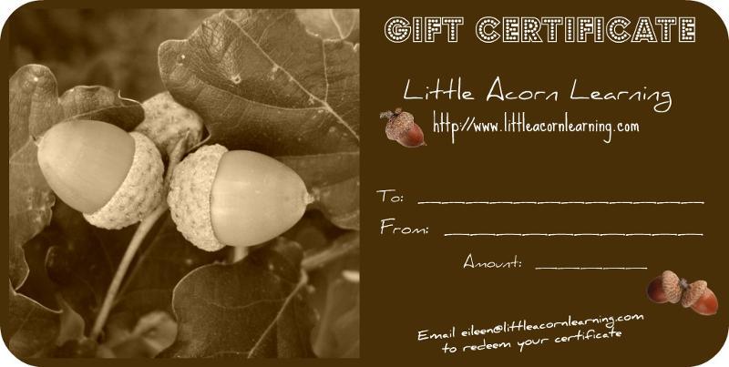 gift certificate little acorn